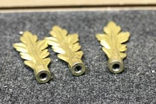 3 PIECE VINTAGE GOLD CURTAIN ROD END SET