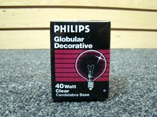 NEW RV OR HOME PHILIPS GLOBULAR DECORATIVE 40W CLEAR BULB