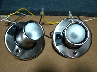 USED RV/MOTORHOME SET OF 2 CHROME READING LIGHTS (SWITCH BUTTON)