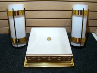 USED RV/MOTORHOME 3 PIECE INTERIOR LIGHT SET (GOLD/WHITE)