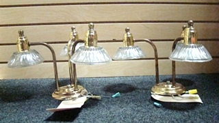 USED RV/MOTORHOME SET OF 2 GOLD CHANDELIERS WITH 3 GLASS SCONCES