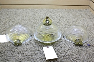 USED MOTORHOME 3 PIECE GOLD LIGHT FIXURE SET RV PARTS FOR SALE