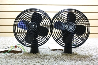 USED SET OF 2 MOTORHOME BLACK TWO SPEED DASH FANS CF-712 FOR SALE