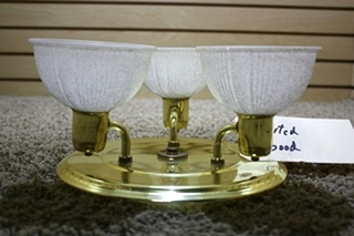 USED MOTORHOME INTERIOR 3 GLOBE CEILING LIGHT FIXTURE FOR SALE