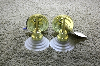 USED SET OF 2 RV WALL SCONCE LIGHT FIXTURES FOR SALE