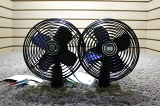 USED SET OF 2 BLACK DASH FANS MOTORHOME PARTS FOR SALE