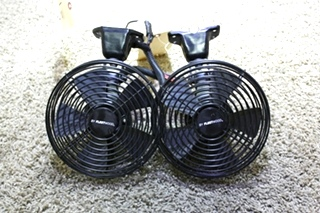 USED SET OF 2 BLACK BY FLEETWOOD 756698 MOTORHOME DASH FANS FOR SALE