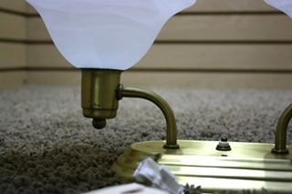 USED MOTORHOME 2 GLOBE CEILING LIGHT FIXTURE FOR SALE