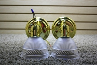 USED RV SET OF 2 ADJUSTABLE WALL SCONCE LIGHT FIXTURES FOR SALE