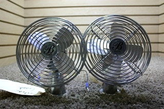 USED RV SET OF 2 BOMAR CHROME CF-712 DASH FANS FOR SALE