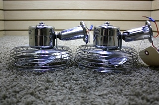 SET OF 2 USED CHROME MOTORHOME DASH FANS FOR SALE