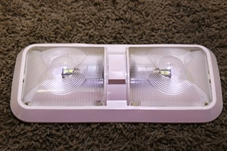 USED DOUBLE OPTIC LENS LED CEILING LIGHT FIXTURE RV PARTS FOR SALE