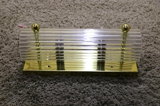 USED 2 BULB RECTANGLE VANITY LIGHT BAR WITH CLEAR COVER RV PARTS FOR SALE