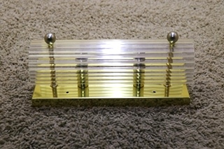 USED MOTORHOME RECTANGLE 2 BULB VANITY LIGHT BAR WITH CLEAR COVER FOR SALE