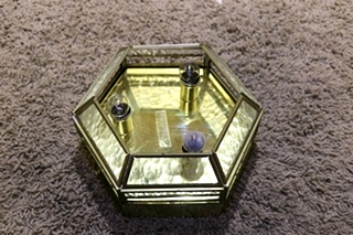 USED RV 3 BULB HEXAGON CEILING LIGHT FIXTURE FOR SALE