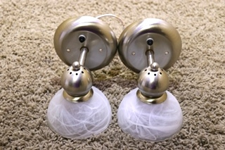 USED RV SET OF 2 SCONCE WALL LIGHT FIXTURES FOR SALE
