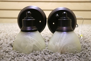 USED RV SET OF 2 ADJUSTABLE WALL LIGHT FIXTURES FOR SALE