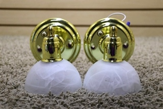USED MOTORHOME SET OF 2 ADJUSTABLE SCONCE WALL LIGHT FIXTURES FOR SALE