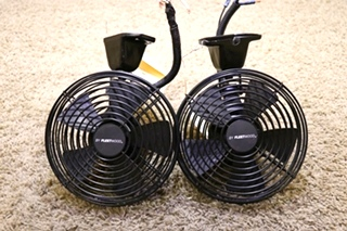 USED SET OF 2 RV BLACK BY FLEETWOOD 756698 DASH FANS MOTORHOME ACCESSORIES FOR SALE