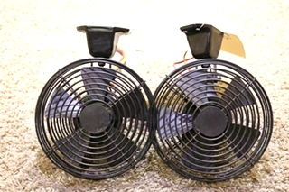 USED MOTORHOME SET OF 2 BLACK DASH FANS RV PARTS FOR SALE