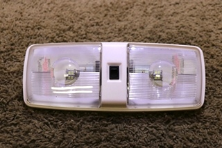 USED RV DOUBLE OPTIC LENS LED CEILING LIGHT FIXTURE MOTORHOME PARTS FOR SALE